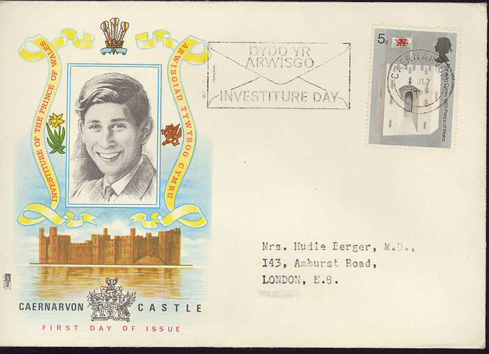 1969-07-01 Investiture Stamps Slogan FDC (3170)