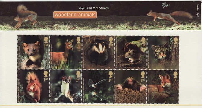 topical stamps - woodland animals