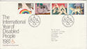 1981-03-25 Year of Disabled Bureau FDC (47239)