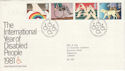 1981-03-25 Year of Disabled Bureau FDC (48541)