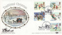 1990-11-13 Christmas Mailcoach Windsor Silk FDC (51198)