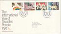1981-03-25 Year of Disabled Windsor FDC (52913)