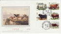 1984-03-06 Cattle Stamps Chillingham Silk FDC (56039)