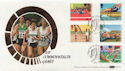 1986-07-15 Sport Stamps Edinburgh Silk FDC (57453)