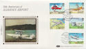 1985-03-19 Alderney Airport Stamps Silk FDC (57526)