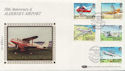 1985-03-19 Alderney Airport Stamps Silk FDC (57527)