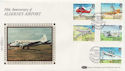1985-03-19 Alderney Airport Stamps Silk FDC (57529)