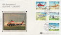 1985-03-19 Alderney Airport Stamps Silk FDC (57530)
