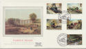 1985-01-22 Famous Trains Stamps Kings Cross Silk FDC (57717)