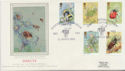 1985-03-12 Insect Stamps Bugford Dartmouth Silk FDC (57778)