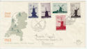 1963 Netherlands Windmills Stamps FDC (58556)