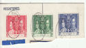 Ceylon 1937 Coronation Stamps used on Piece (61267)
