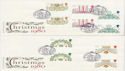 1980-11-19 Christmas Gutter Stamps London x2 FDC (61748)
