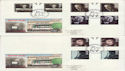 1985-10-08 British Films Gutter Stamps Leicester x2 FDC (61785)