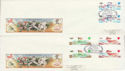 1985-11-19 Christmas Gutter Stamps Nottingham x3 FDC (61793)
