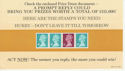 1984-08-14 Definitive Coil Stamps on Prize Card (64390)