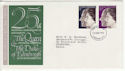 1972-11-20 Silver Wedding Stamps London FDC (65164)