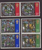 1971-10-13 SG894/6 Christmas Stamps in Pairs MINT Set (67420)