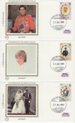 1981-07-22 Ascension Royal Wedding Stamps x3 FDC (68828)