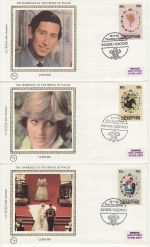 1981-07-22 Lesotho Royal Wedding Stamps x3 FDC (68836)