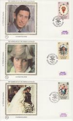 1981-07-22 Cayman Islands Royal Wedding Stamps x3 FDC (68841)