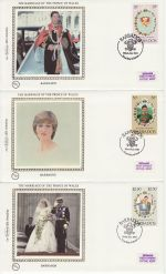 1981-07-22 Barbados Royal Wedding Stamps x3 FDC (68844)