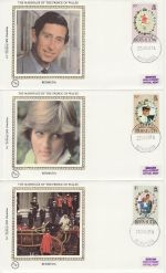 1981-07-22 Bermuda Royal Wedding Stamps x3 FDC (68845)