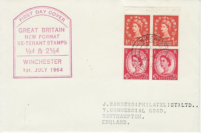 1964-07-01 2½d Type II Booklet Stamps Winchester FDC (71984)