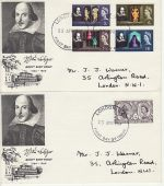 1964-04-23 Shakespeare Stamps London x2 FDC (74285)