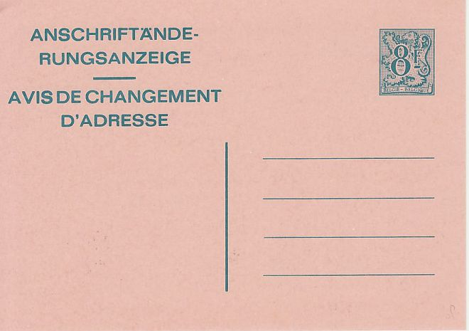 Belgium Postal Stationery Change of Address Card (75665)
