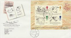 1988-09-27 Edward Lear M/S Stamps London N22 FDC (76561)