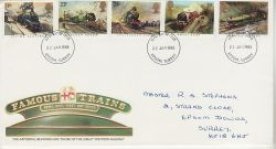 1985-01-22 Famous Trains Stamps Epsom FDC (76594)