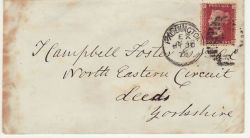 1878 Paddington to Leeds 1d Red Used on Cover (76602)