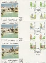 1980-05-07 London Landmarks Gutter Stamps x3 FDC (76124)