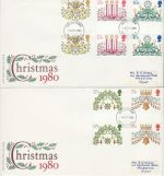 1980-11-19 Christmas Gutter Stamps Medway x2 FDC (76397)