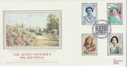 1990-08-02 Queen Mother Stamps London SW1 FDC (77065)