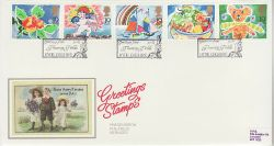 1989-01-31 Greetings Stamps Hyde PPS Silk FDC (77106)