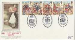 1989-10-17 Lord Mayor Show Stamps London Silk FDC (77114)