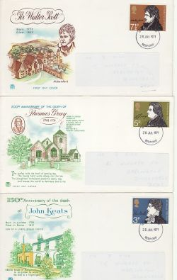 1971-07-28 Literary Anniversaries Bedford x3 FDC (77201)