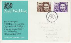 1973-11-14 Royal Wedding Stamps London SW1 FDC (77293)