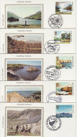 1981-06-24 National Trust Stamps x5 Benham Silk FDC (77451)