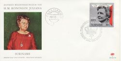 1973-09-12 Suriname Queen Juliana Reign Stamp FDC (77792)