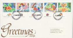 1989-01-31 Greetings Stamps Ipswich FDC (78063)