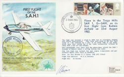 1983-08-23 RAF AC7 First Flight of the S.A.H.1 Signed (78166)