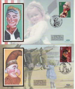 2001-09-04 Punch and Judy Booklet Stamps x2 FDC (78199)