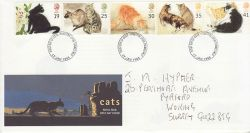 1995-01-17 Cats Stamps Kingston FDC (78233)