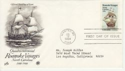 1984-07-13 USA Roanoke Voyages Stamp FDC (78466)