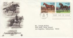 1985-09-25 USA American Horses Stamps FDC (78513)