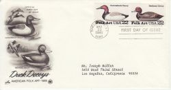 1985-03-22 USA Folk Art Duck Stamps FDC (78514)