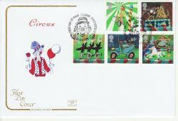 2002-04-09 Circus Stamps Clowne Chesterfield FDC (78674)